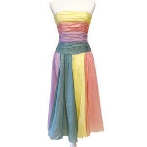Betsy Johnson rainbow pride satin sleeveless dress